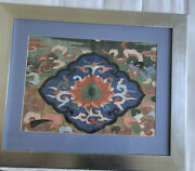 Vintage Chinese Silk Embroidery Keisi Panel Textile Tapestry Framed 23andldquo X 28andldquo