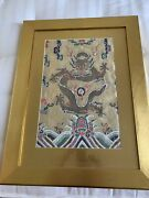 Antique Chinese Silk Embroidery Panel Textile Tapestry Framed 28andldquox 22andrdquo