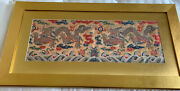 Vintage Chinese Silk Embroidery Panel Textile Tapestry Framed 19andldquox 37andrdquo Pair