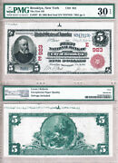 1902 5 Red Seal First National Bank City Of Brooklyn Ny Fr.587 Ch923. Pmg Vf30