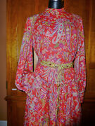 Vtg 60s Shannon Rodgers Jerry Silverman Jersey Paisley Evening Cocktail Dress