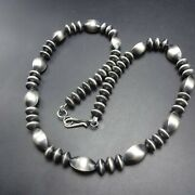 Fabulous Sterling Silver 24 Navajo Pearls Necklace Oxidized Saucer Beads 58.9g