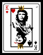 Fidel Che Playing Card In Gold Leaf And Diamond Dust On Archival Paper Dimensions