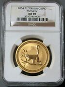 2004 Gold Australia 100 Lunar Year Of The Monkey 1 Oz Coin Ngc Mint State 70