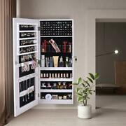 New Wall/door Mounted Full Mirrored Jewelry Holder Organizer Cabinet Armoire Us