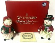 Waterford Holiday Heirlooms Snowy Village Snowman Salt And Pepper Shaker Set