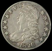 1826 Silver Capped Bust Half Dollar Lettered Edge Coin About Unc Condition