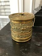 Antique Vintage Small Brass String Twine Box Holder Desk Top Embossed Ribbon