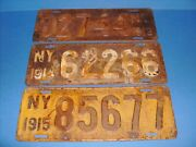 N.y. License Plates Lot 1913,1914,1915 - - -new York Plate Early