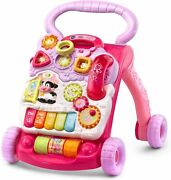 Baby Push Walker Sit-to-stand Vtech Pink Interactive Learning Walker Toddler ...