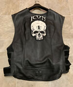 Icon Black Leather Regulator Motorcycle Racing Club Vest W/ Skull Patch 4xlarge
