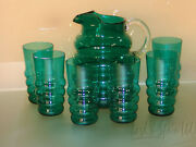 7 Piece Teal Green Depression Glass 4 Ring Beverage Set- Pitcher And 6 Tumblers