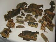 Old 23 Pc 1880s Paper Litho On Wood Stand Up Jungle Animals - Putz Diorama