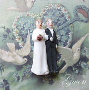 Antique Bisque German Hertwig And Co Bride And Groom 1 3/8 Wedding Cake Topper Doll