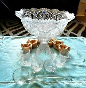 Vintage Imperial Whirling Star Hobstar Cut Glass 15 Pc Punch Bowl Set Nos