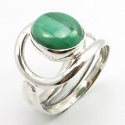 925 Solid Silver Malachite Ring Sz 6.5 Cheapest Shipping