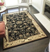 Vista Floral Traditional Rug Black/cream/olive/red8x115x84x552x82x310x13