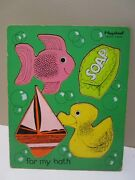 Vintage Playskool Wood Puzzle For My Bath - 4 Pieces Duck, Fish, Soap, Boat