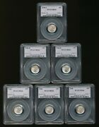 Lot Of 6 All Certified Pcgs Ms66 Silver Roosevelt Dimes.          V