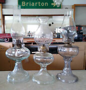 Lot Of 3 Vintage Antique Glass Oil Lamps, Giant With Eagle And Queen Anne Burners