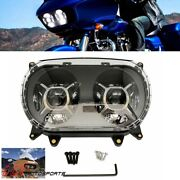 Motorcycle Dual Projector Led Drl Headlight Lamp For Harley Road Glide 2015-2020
