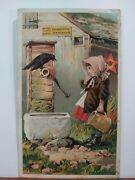Buy The Light Running Domestic Sewing Machine Trade Card. Crow At Well W/girl
