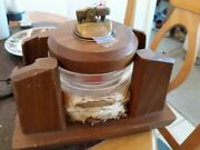 Antique Wooden Playing Card Holder, With Ash Trays Lighter. Hudepohl Promotion