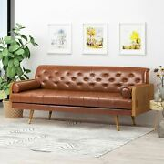 Nunzio Mid-century Modern Tufted Sofa With Rolled Accent Pillows