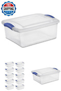Latch Storage Box 15qt Lid Clear Plastic Totes Bins Organizer Container 10-pack