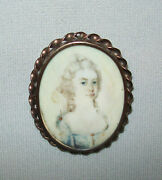 Old Antique Vtg 19th C 1810s Portrait Miniature Of Lady Very Nice Brooch Setting