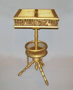 Rare Antique Vtg Mid 19th C 1850s Birdcage Sewing Table Outstanding Origin Paint