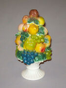 Old Antique Vtg 1900s Pottery Garniture China Fruits Berries Grapes 9.5 Tall Ve