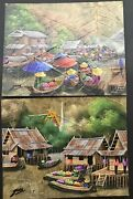 2 Early Gris Oil On Leaf Paintings Thailand Temple Boats Houses 8x10 Mid Century