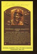 Ted Williams Yellow Hall Of Fame Plaque Signed Front And Back Jsa Loa