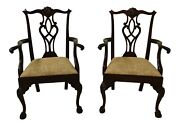 L49415ec Pair Of Stickley Chippendale Mahogany Ball And Claw Arm Chairs