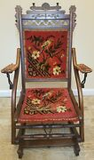 Antique 1880and039s E W Vaill Worcester Mass. Wooden Carpet Folding Rocking Chair Tlc