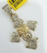 Clearance 10k Yellow Gold Lion Roaring Cross King Crown Jungle Diamond 2' Inches