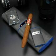 Brizard And Co Cigar Case Cutter And Lighter Trio- Blue Ostrich And Gray Leather