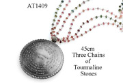 72 Names And Archangels 35gr 925 Silver Amulet - 45cm Three Chains Of Colorful Tou