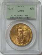 1922 Gold 20 St Gaudens Green Label Pcgs Mint State 63