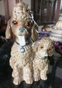 Antique Porcelain Perfume Tv Lamp Poodle And Puppy Figurines Glass Eyes