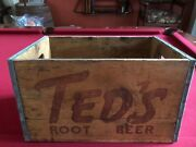 1950and039s Ted Williams Tedand039s Root Beer Wooden Crate Scarce / Vintage