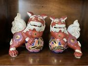 Antique Handmade Chinese Ceramic Lion Foo Dogs Figurines Gold Accents
