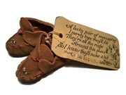 Vintage Miniature Leather Indian Real Beaded Moccasins Souvenir Grand Rapids Mn.