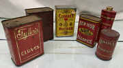 Lot Of 6 - Vintage Spice Tins Tylers Colemans Mustard Ben Hur And More