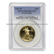 2001-w 25 Eagle Pcgs Pr70dcam American Gold Proof Deep Cameo Coin 1/2 Ounce