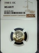 1948 S Ngc Ms 68 Full Torch Roosevelt Silver Dime ☆☆ Great For Sets ☆☆ 001