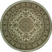 Ivory Luxurious Round 9and039 X 9and039 Rug High End Wool And Silk Handmade Traditional Rug