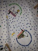 Vintage Snoopy Woodstock Peanuts Twin Fitted Sheet Sayings Fabric Material Craft