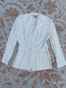 Vintage 1940s White Rayon Coat Sportswear Mother Of Pearl Buttons Nautical